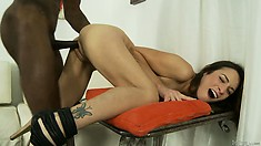 My new black step daddy goes balls deep in my tight pussy and ass